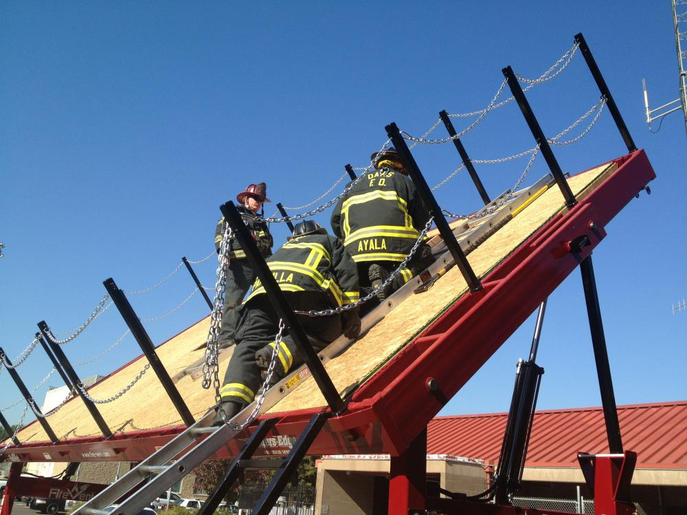 Firefighters on roof at training