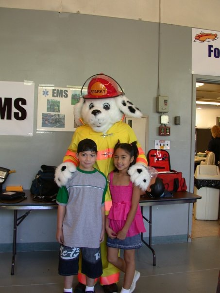 Children with Sparky at Open House