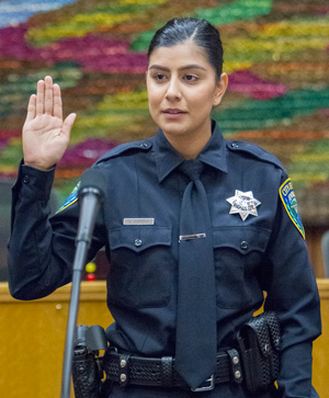 Officer Natalie Corona at her swearing-in ceremony