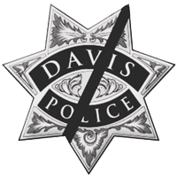 Davis Police Badge with Black Ribbon