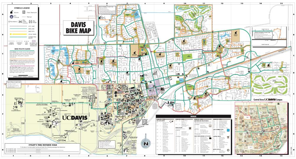 Uc Davis California Map.Bike Map And Suggested Routes To School Maps City Of Davis Ca